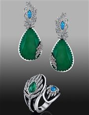Pavone Collection Earrings and Ring - Cristina Sabatini LLC - Product Search - JCK Marketplace
