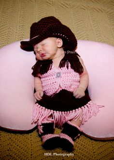 Cowgirl Set - Vest, Skirt, Boots, Hat. (hot pink & tan) photo prop. $55.00, via Etsy.