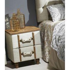 Mesa de noche cajones maleta tela acolchada beige