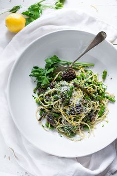 Spring Pasta Salad with Asparagus, Morels and Lemon Parsley Dressing. Zesty and flavorful, make in 30 minutes!