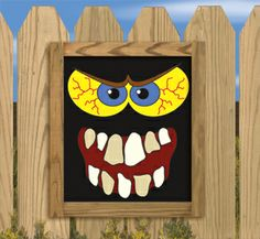 Scary Monster Faces Woodcraft Pattern Nine sets of bloodshot eyes and hungry mouths to paint onto black boards then placed in the bushes, hang on the sides of buildings or display in windows. #diy #woodcraftpatterns