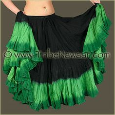 Tribe Nawaar Dip Dyed in shades of green. http://www.tribenawaar.com/marketplace/SkirtsDipDye.html