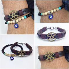 kit 2 pulseiras masculinas couro pedras ônix olho grego bracelet man men's fashion