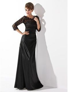 A-Line/Princess Scoop Neck Floor-Length Charmeuse Mother of the Bride Dresses With Ruffle  Lace  Beading (008006037)