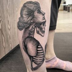 Lady Skull by @jonald_juck in Denver Colorado. #lady #body #skull #ribs #blackwork #jonaldjuck #denver #colorado #tattoo #tattoos #tattoosnob