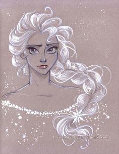 Портреты принцесс Дисней на тонированной бумаге