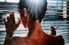 "Saatchi Online Artist: thomas saliot; Oil Painting ""Moonlight Smoke"""