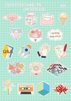 Pop Stickers, Tumblr Stickers, Printable Stickers, Seventeen Lyrics, Seventeen Wallpapers, Journal Stickers, Aesthetic Stickers, Kpop Fanart, Sticker Design