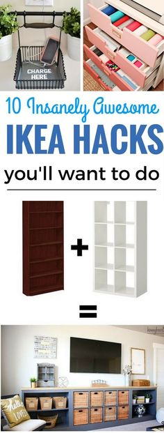 10 Insanely Awesome Ikea Hacks you don't want to miss out on! Great home decor ideas for the living room, kitchen, bedroom and more. You'll be able to make gorgeous looking items for your home for cheap but looks expensive! That's a HUGE WIN.