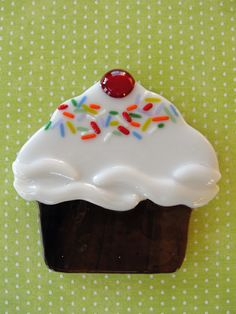 fused glass cupcake - school