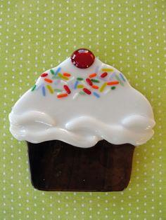 fused glass cupcake