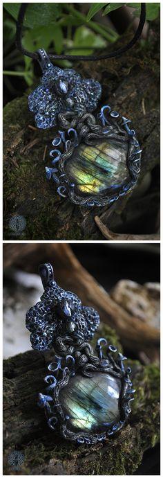 Moonlight Cedrus #fantasy #goddess #fairytale #tree #treeoflife #moon #moonlight #mushrooms #lichens #magic #magical #night #labradorite #glassbeads #polymerclay #jewelry #handmade #ooak #unique #pendant #sculpture #gemstone