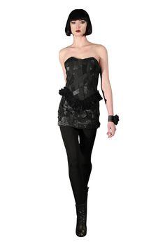 Yan To Elastic corset. Elastic skirted pants.