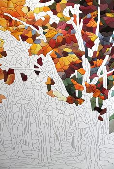 Patchwork Painting Without a Needle - So Crafty Fibre And Fabric, Mosaic Wall Art, Diy Home Crafts, Shades Of Red, Fabric Painting, Blue Fabric, In The Tree, Eminem, Art Pieces