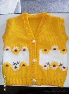 I found great knitting vest idea. Sweater Knitting Patterns, Knitting Designs, Knit Patterns, Knitting For Kids, Crochet For Kids, Hand Knitting, Knitting Ideas, Crochet Baby Dress Pattern, Baby Dress Patterns