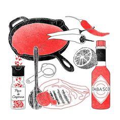 Per la salsa Spicy, basta scaldare gli ingredienti per 10 minuti. Servita fredda, si sposa perfettamente con la carne di manzo e maiale. (Illustrazioni di Ilaria Cheloni)