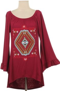 Aztec print rayon tunic in burgundy. Made in the USA.  Available in plus sizes 1x, 2x, and 3x.  Shop for this Dirt Road Diva favorite at  https://www.dirtroaddivaboutique.com/ProductDetails.asp?ProductCode=TBST