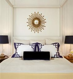 Mmmm like this not always the biggest fan of trendy sun mirrors but I like the way it ties this bedroom together.