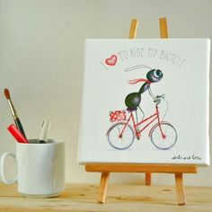 CUADRO I LOVE TO RIDE 20X20CM