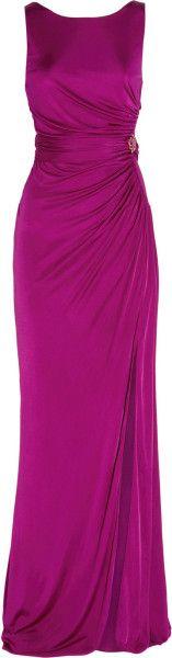 Roberto Cavalli Ruched Silkjersey Gown in Purple (fuchsia)   Lyst
