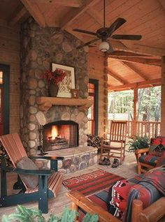 The outdoor living spaces of the Ellijay Cabin help to make this a cabin to be enjoyed year round. Many marshmallows have been toasted at this fireplace. Cabana, Log Cabin Homes, Log Cabins, Mountain Cabins, Mountain Homes, Modern Rustic Homes, Cabins And Cottages, Decks And Porches, Cozy Cabin