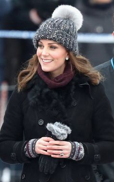 Catherine, Duchess of Cambridge attends a Bandy hockey match where they will learn more about the popularity of the sport during day one of their Royal visit to Sweden and Norway on January 30, 2018 in Stockholm, Sweden