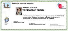 Martianos. Teresita Capote Camacho. Miembro de Honor.