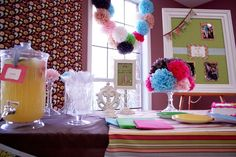 Love this bridal shower dessert table with the gorgeous pom poms