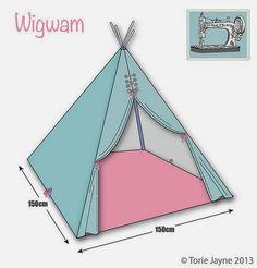diy make wigwam teepee - Fabric Craft Diy Teepee, Teepee Tent, Teepees, Kids Tents, Teepee Kids, Tutorial Tipi, Sewing For Kids, Diy For Kids, Teepee Pattern