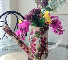 s 15 empty tin can hacks that will make your home look amazing, crafts, home decor, repurposing upcycling, Craft a decorative watering can Decor Crafts, Diy Crafts, Tree Crafts, Creative Crafts, Paper Crafts, Recycling, Purple Hues, Stencils, Paper Napkins