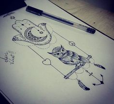 Owl, hamsa
