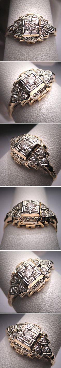 Antique Diamond Wedding Ring Vintage Art Deco Victorian