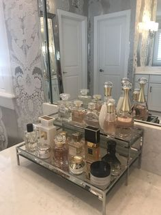 Perfume Storage Ideas and Inspiration For Karen Gilbert Perfume Storage, Perfume Organization, Perfume Display, Home Organization, Perfume Tray, Chic Perfume, Organizing, Hair Product Organization, Perfume Bottles