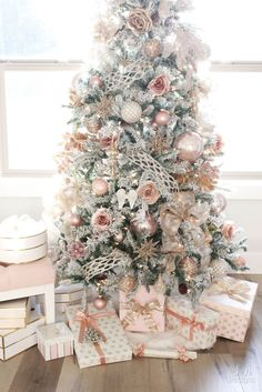 My Blush Pink Flocked Christmas Tree - Summer Adams frontgate christmas, diy christmas deco, ideas for christmas ornaments Rose Gold Christmas Tree, Rose Gold Christmas Decorations, Flocked Christmas Trees, Beautiful Christmas Trees, Christmas Tree Themes, Noel Christmas, Christmas Christmas, Christmas Quotes, Christmas Movies