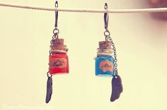Winged Potions mini bottles earrings Health and by TowerofSorcery,