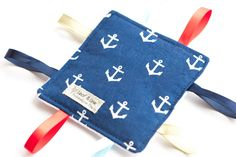 You're my anchor, baby | Crinkle Tag Sensory Toy - anchors, nautical, navy, gender neutral baby, trendy baby gift, miky dot, taggie toy by LeafAndLine on Etsy https://www.etsy.com/listing/210427830/youre-my-anchor-baby-crinkle-tag-sensory