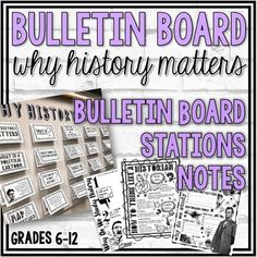 Why History Matters Interactive Bulletin Board and Notes PagesThis resource includes 20 cards to be used in an interactive bulletin board display. Topics included are: Why history matters? What skills do we learn when we study history? What does it mean to think like a historian? How are historians ... Middle School Us History, High School American History, American History Lessons, World History Classroom, History Teachers, Common Core Social Studies, Syllabus Template, History Bulletin Boards, Teacher Forms