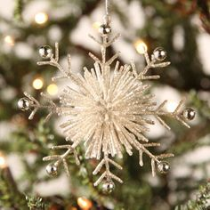 Glitter covered snowflake. 4-1/2'' diameter.