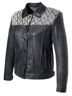 Hand Weave Jacquard pattern Women Leather Designer Jacket by aarna101 on Etsy