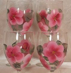Hand Painted Wine Glasses 4  Pink Posies by EverMyHart on Etsy, $39.95