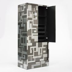 Paul Evans; Chromed and Patinated Steel and Laminated Wood 'Cityscape' Cabinet for Directional, c1970.