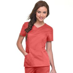 Smart Stretch by Landau Women's Crossover Solid Top | allheart.com #orange #nursestyle #hospitalstyle #medicalstyle