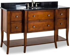 Jeffrey Alexander - Hardware Resources Chocolate Brown vanity w/ Brushed Pewter hardware, elegant tapered cabriole legs, rolled edge details, and preassembled Black Granite top and oval bowl Granite Tops, Black Granite, Diy Vanity, Wood Vanity, Jeffrey Alexander, Cabinet Boxes, Classic Bathroom, Bath Fixtures, Bathroom Furniture