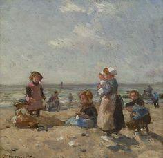 'Johannes Evert' Hendrik Akkeringa (Blinjoe (Nederlands-Indië) 1861-1942 Amersfoort) Kinderen op het strand van Scheveningen - Kunsthandel Simonis en Buunk, Ede (Nederland).