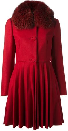 RED VALENTINO Fox Fur Collar Coat - Lyst