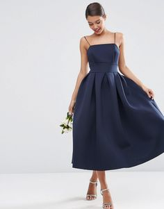 ASOS WEDDING Strappy Pini Scuba Prom Midi Dress