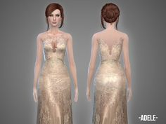 Created By -April- Adele - gown Created for: The Sims 4 This one is an embroidered gown with sheer parts which comes in 4 color variations. New mesh, new item. http://www.thesimsresource.com/downloads/1330605