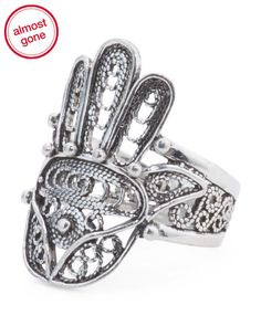 Handcrafted+In+Turkey+Sterling+Silver+Hamsa+Ring