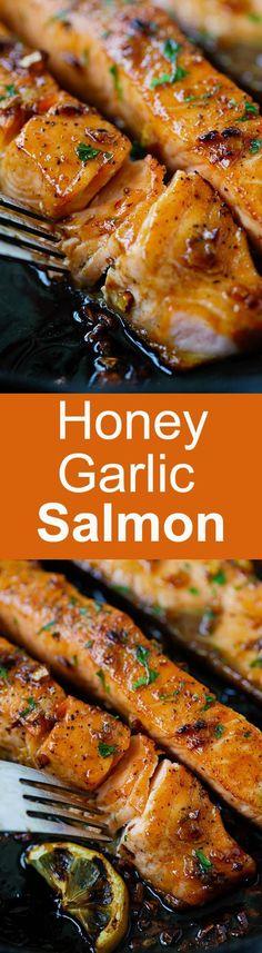 nice Honey Garlic Salmon – garlicky, sweet and sticky salmon with simple ingredient...