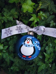 First Christmas Penguin  Personalized Hand by BrushStrokeOrnaments